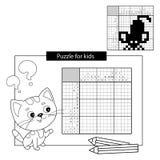 Raadselspel voor schoolkinderen Muis Zwart-wit Japans kruiswoordraadsel met antwoord Kleurend boek voor jonge geitjes royalty-vrije illustratie