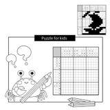 Raadselspel voor schoolkinderen Schip Zwart-wit Japans kruiswoordraadsel met antwoord Kleurend boek voor jonge geitjes stock illustratie