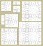Raadselstukken in vierkante patronen dat samen van verschillend worden geassembleerd Stock Foto