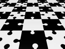 Raadselstukken in zwart-wit Stock Afbeelding