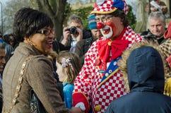 Raadslid en Clown bij de Jaarlijkse Dienst in Hackneypaard Stock Foto's