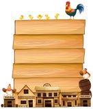 Raadsmalplaatje met westelijke stad en kippen Royalty-vrije Stock Foto's