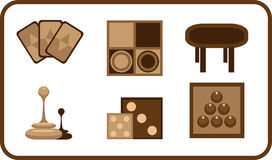 Raadsspelen gestileerde pictogrammen Stock Foto