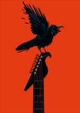 Raaf met een gitaar vector illustratie