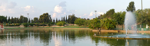 Raanana Park Panorama. Raanana Park and Lake Panoramic View stock photo