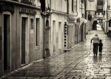 Rab老镇,克罗地亚海岛著名为它的四座钟楼 免版税库存图片