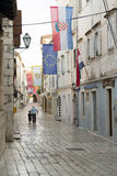 Rab老镇,克罗地亚海岛著名为它的四座钟楼 库存照片