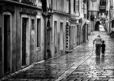 Rab老镇,克罗地亚海岛著名为它的四座钟楼 免版税库存照片