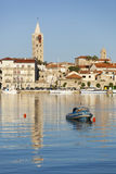 Rab city view with a tower and small boat Royalty Free Stock Photo