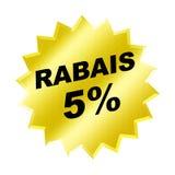 Rabais Sign. Yellow rabais 5% sign - web button - internet design Stock Image
