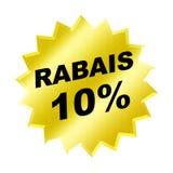 Rabais Sign. Yellow Rabais 10% Sign - Web Button - Internet Design Stock Photo