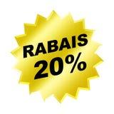 Rabais Sign. Yellow rabais 20% sign - Web Button - Internet Design Royalty Free Stock Photo