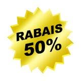 Rabais Sign. Yellow rabais 50% sign - web button - internet design Stock Photo