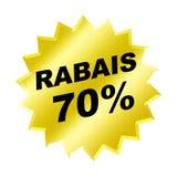 Rabais Sign. Yellow Rabais 70% Sign - Web button - internet design Royalty Free Stock Photography