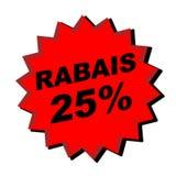 Rabais Sign. Red rabais 25% sign - web button - internet design Royalty Free Stock Image
