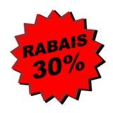 Rabais Sign. Red rabais 30% sign - web button - internet design Royalty Free Stock Photography