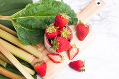 Rabarber och jordgubbar Arkivfoto