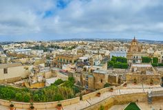 Observe the Gozo Island from Rabat Fortress, Victoria, Malta. Rabat Citadel is perfect place to observe Victoria, surrounding it and Xewkija, with its Rotunda of royalty free stock photos