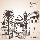 Rabat city. Morocco. Sketch. On white background Royalty Free Stock Images