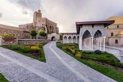 Rabat fortress colonnade. Internal yard with colonnade in Rabat fortress in Georgia Stock Photography