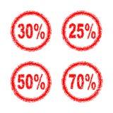 Rabat liczby dla sprzedaży 25%, 30%, 50%, 70% w jeden stylu Zdjęcia Stock