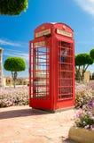Rabat, Malta - May 8, 2017: Red telephone box like this British telephone box in Park on Gozo Island. Royalty Free Stock Images