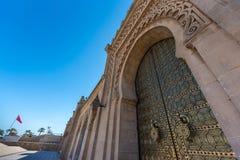 Rabat - mausoleum of mohammed v. An Arab gate on the domain the Mausoleum of Mohammed V in Rabat, Morocco Royalty Free Stock Photos