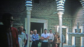 RABAT, MOROCCO 1972: Inside blue tile work of a Morocan mosque tourism site. stock video