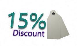 Rabat %15 na bielu, 3d odpłaca się Zdjęcia Stock