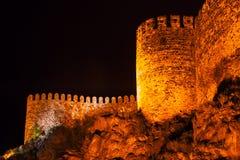 Rabati kasztel przy nocą w Akhaltsikhe fotografia royalty free