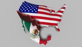 Rabatowa ściana między Meksyk i usa Zdjęcie Royalty Free