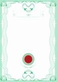 rabatowego świadectwa zieleni guilloche czerwona foka Obraz Royalty Free