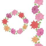 rabatowy kwiecisty bezszwowy kwiecisty ramowy round Różowe róże i Lanta royalty ilustracja