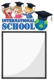 Rabatowy szablon z dzieciakami od zawody międzynarodowi szkoły Zdjęcie Royalty Free