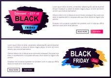 Rabatt av uppsättning för Black Friday Sale Promoetiketter stock illustrationer