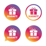 Rabatt - Discounts in German sign icon. Gift. Rabatt - Discounts in German sign icon. Gift box with ribbons symbol. Gradient buttons with flat icon. Speech Stock Images