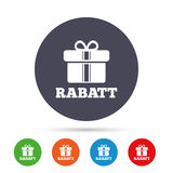 Rabatt - Discounts in German sign icon. Gift. Rabatt - Discounts in German sign icon. Gift box with ribbons symbol. Round colourful buttons with flat icons Royalty Free Stock Photos