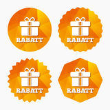 Rabatt - Discounts in German sign icon. Gift. Rabatt - Discounts in German sign icon. Gift box with ribbons symbol. Triangular low poly buttons with flat icon Royalty Free Stock Photos