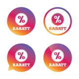 Rabatt - Discounts in German sign icon. Star. Rabatt - Discounts in German sign icon. Star with percentage symbol. Gradient buttons with flat icon. Speech Royalty Free Stock Photos