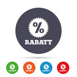 Rabatt - Discounts in German sign icon. Star. Rabatt - Discounts in German sign icon. Star with percentage symbol. Round colourful buttons with flat icons Stock Image