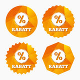 Rabatt - Discounts in German sign icon. Star. Rabatt - Discounts in German sign icon. Star with percentage symbol. Triangular low poly buttons with flat icon Stock Images