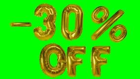 Rabatt 30 dreißig Prozent weg von der goldenen Ballonverkaufsfahne, die auf grünes Schirmeinkaufsangebot schwimmt - stock video footage