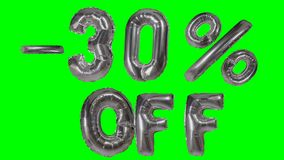 Rabatt 30 dreißig Prozent weg von der silbernen Ballonverkaufsfahne, die auf grünes Schirmeinkaufsangebot schwimmt - stock footage