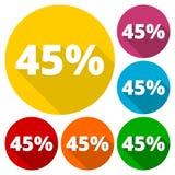 Rabatt fyrtiofem 45 procent runda symboler ställde in med lång skugga Royaltyfri Foto