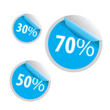 Rabatt 30 50 Ikone mit 70 Verkäufen auf weißem Hintergrund Stockfotos