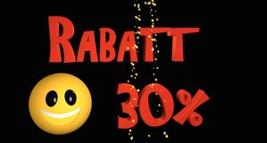Rabatt 30%. Lettering discount 30% in German text with a smiley vector illustration