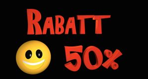 Rabatt 50%. Lettering discount 50% in German text with a smiley stock illustration