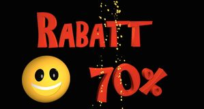 Rabatt 70%. Lettering discount 70% in German text with a smiley royalty free illustration