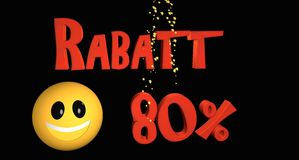 Rabatt 80%. Lettering discount 80% in German text with a smiley vector illustration
