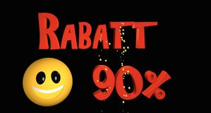 Rabatt 90%. Lettering discount 90% in German text with a smiley royalty free illustration